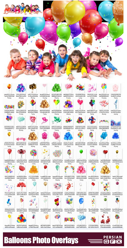 دانلود 113 کلیپ آرت بادکنک های رنگارنگ - 113 Balloons Photo Overlays In PNG Photography