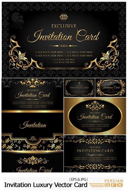دانلود وکتور کارت دعوت های تزئینی مشکی و طلایی - Invitation Luxury Vector Card Black And Gold Vintage Style