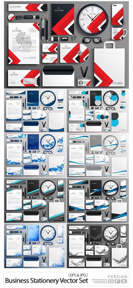 دانلود مجموعه وکتور ست اداری شامل کارت ویزیت، سربرگ، بروشور، ابزار جانبی و ... با طرح های انتزاعی متنوع - Abstract Business Stationery Vector Set