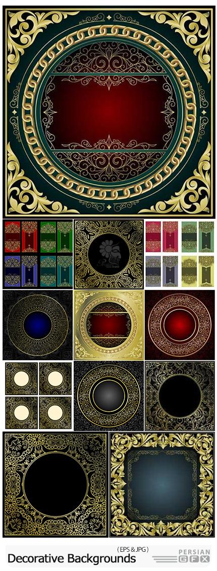 دانلود وکتور بک گراند های تزئینی با طرح های گلدار متنوع - Indian Vector Motifs Decorative Design Backgrounds