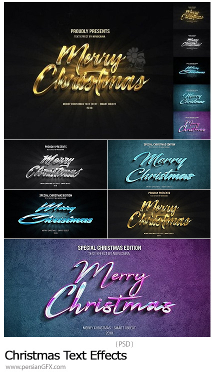 دانلود افکت های سه بعدی نوشته تبریک کریسمس - Christmas Text Effects