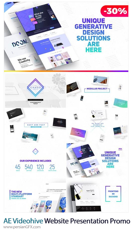 دانلود قالب ارائه صفحات وب، آژانس تبلیغاتی و نمایشگاه محصولات در افترافکت از ویدئوهایو - Videohive Premium Website Presentation / Agency Promo / Product Showcase