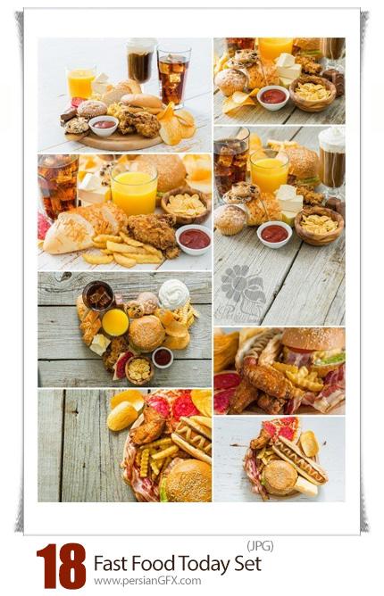دانلود مجموعه تصاویر با کیفیت فست فود، همبرگر، ساندویچ و سیب زمینی سرخ شده - Fast Food Stock Photo Set