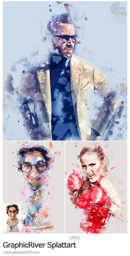 دانلود اکشن فتوشاپ ساخت تصاویر هنری با لکه های رنگ پاشیده شده به همراه آموزش ویدئویی از گرافیک ریور - GraphicRiver Splattart