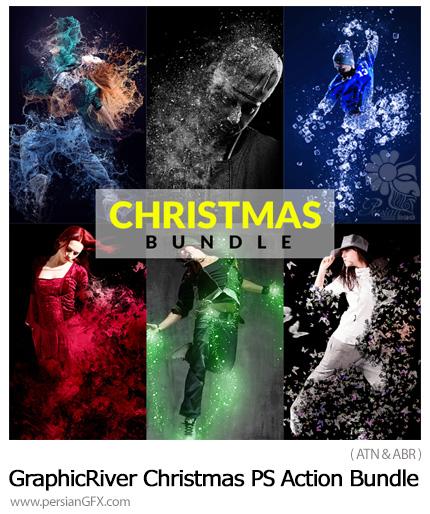 دانلود مجموعه اکشن فتوشاپ کریسمس با 6 افکت متنوع از گرافیک ریور - GraphicRiver Christmas Photoshop Action Bundle