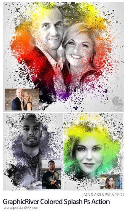 دانلود اکشن فتوشاپ ایجاد افکت رنگ پاشی بر روی تصاویر به همراه آموزش ویدئویی از گرافیک ریور - GraphicRiver Colored Splash Photoshop Action