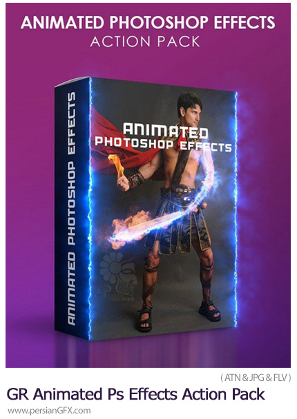 دانلود مجموعه اکشن فتوشاپ با 4 افکت متحرک متنوع از گرافیک ریور - Graphicriver Animated Photoshop Effects Action Pack