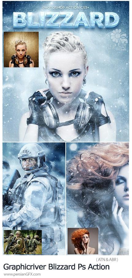 دانلود اکشن فتوشاپ ایجاد افکت کولاک برف بر روی تصاویر به همراه آموزش ویدئویی از گرافیک ریور - Graphicriver Blizzard Photoshop Action