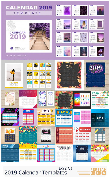 دانلود 30 قالب وکتور تقویم های دیواری و رومیزی 2019 - 2019 Calendar Vector Templates Collection
