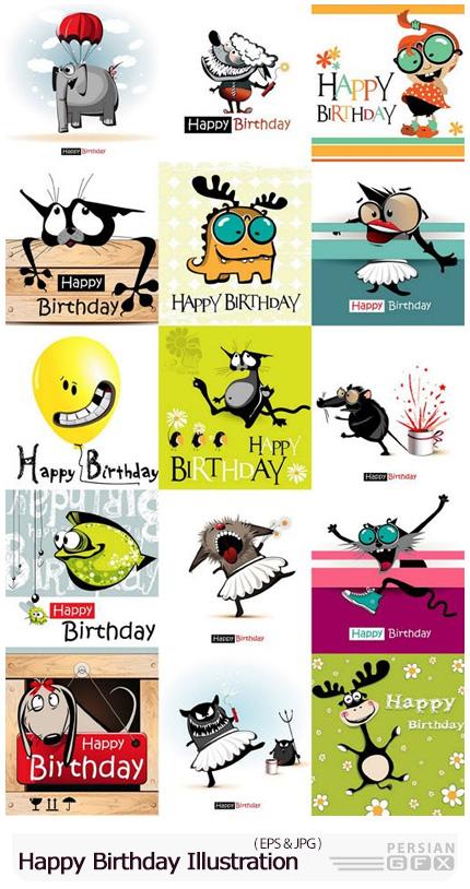 دانلود وکتور طرح های کارتونی حیوانات برای کارت تولد - Happy Birthday Illustration