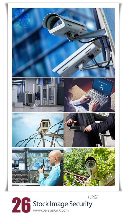 دانلود تصاویر با کیفیت وسایل امنیتی شامل دوربین مدار بسته، قفل سیستم، گیت بازرسی و ... - Stock Image Security