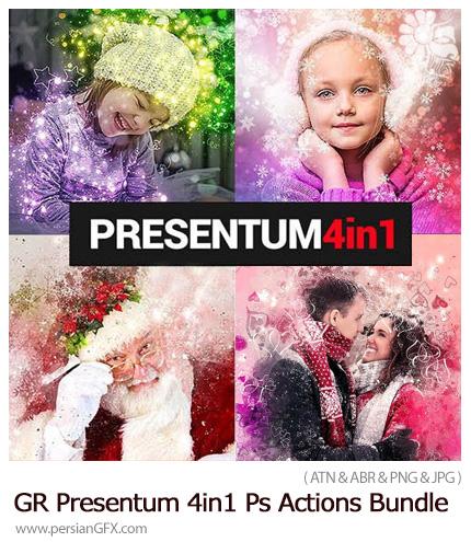 دانلود مجموعه اکشن فتوشاپ با 4 افکت عاشقانه و زمستانی از گرافیک ریور - GraphicRiver Presentum 4in1 Photoshop Actions Bundle