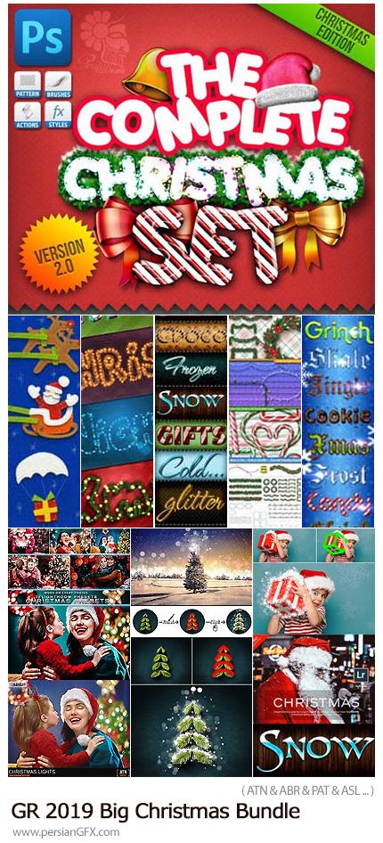 دانلود مجموعه اکشن، استایل، براش، پریست لایتروم و ... برای طراح های زمستانی و کریسمس از گرافیک ریور - Graphicriver 2019 Big Christmas Bundle