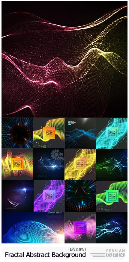 دانلود وکتور بک گراندهای انتزاعی با طرح های هندسی فراکتال - Fractal Geometric Abstract Decorative Lines Background