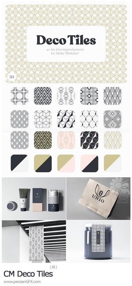 دانلود 40 پترن وکتورتزئینی با طرح های متنوع برای ایلوستریتور - CM Deco Tiles