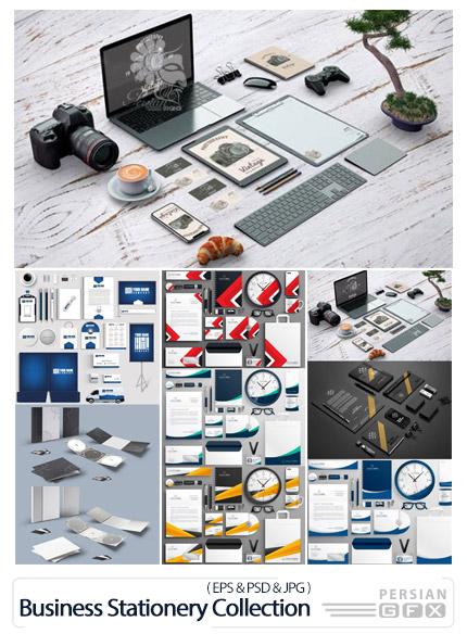دانلود 8 قالب لایه باز و وکتور ست اداری شامل کارت ویزیت، سربرگ، بروشور و ... - 8 Realistic Business Branding Stationery Collection