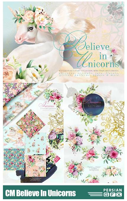 دانلود کلیپ آرت عناصر تزئینی اسب تک شاخ شامل پترن، گل و بوته، حلقه گل، فریم و ... - CM Believe In Unicorns