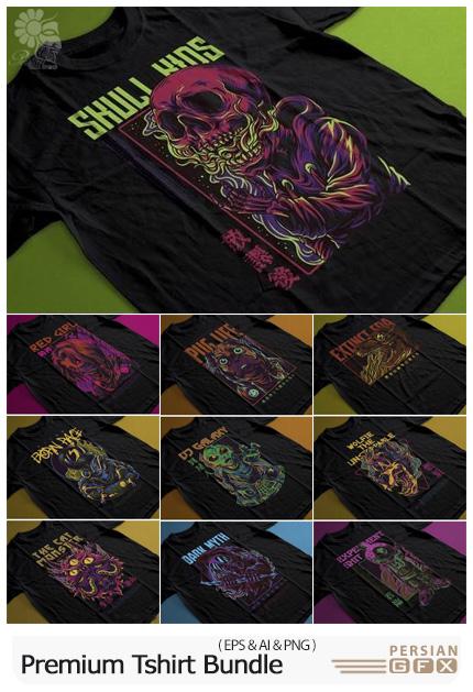 دانلود مجموعه وکتور طرح های چاپی روی تی شرت - Premium Tshirt Bundle