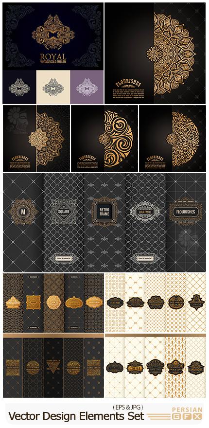 دانلود مجموعه وکتور المان های تزئینی ماندالا برای طراحی پکیج، فریم، لیبل و ... - Vector Set Of Design Elements And Vintage Luxury Decorative Design