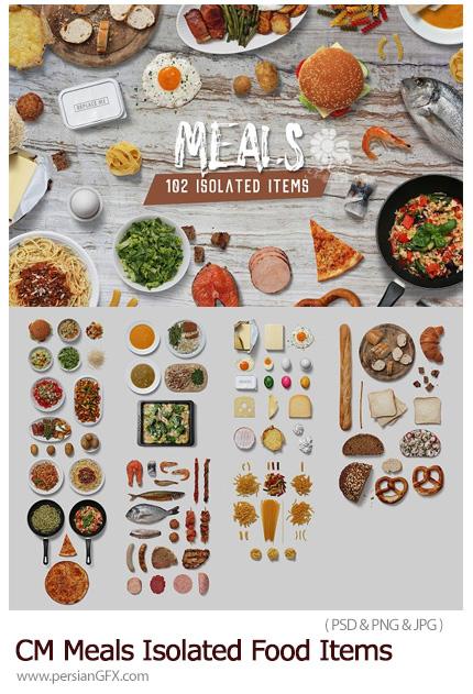 دانلود المان های لایه باز مواد غذایی شامل لبنیات، نان، پاستا، گوشت و ... - CreativeMarket Meals Isolated Food Items