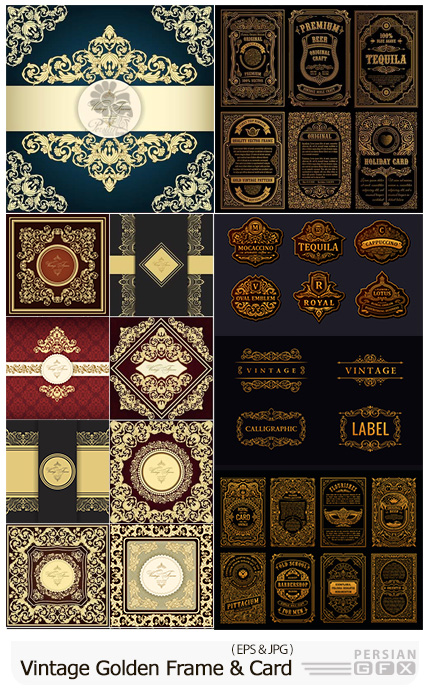 دانلود مجموعه وکتور فریم، پترن، لیبل و کارت های گلدار تزئینی - Vintage Golden Vector Retro Cards And Frame