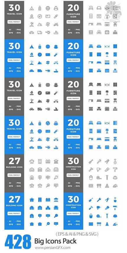 دانلود 428 آیکون وکتور با موضوعات مختلف سفر، ساخت و ساز، مبلمان و ... - Big Icons Pack (Lineal Color Line Flat Solid)