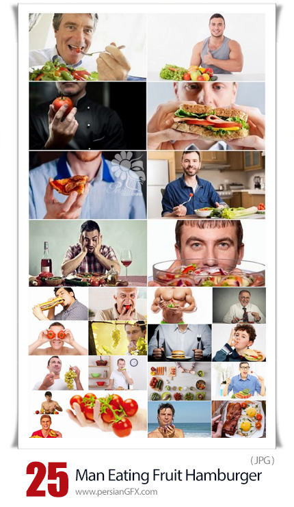 دانلود تصاویر با کیفیت مردان در حال خوردن ساندویچ، سالاد و میوه - Man Guy Eating Vegetables Fruit Hamburger Sandwich Burger