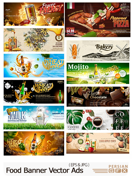 دانلود 12 وکتور بنر تبلیغاتی سه بعدی مواد غذایی - Food Banner Vector Ads In 3D Illustration