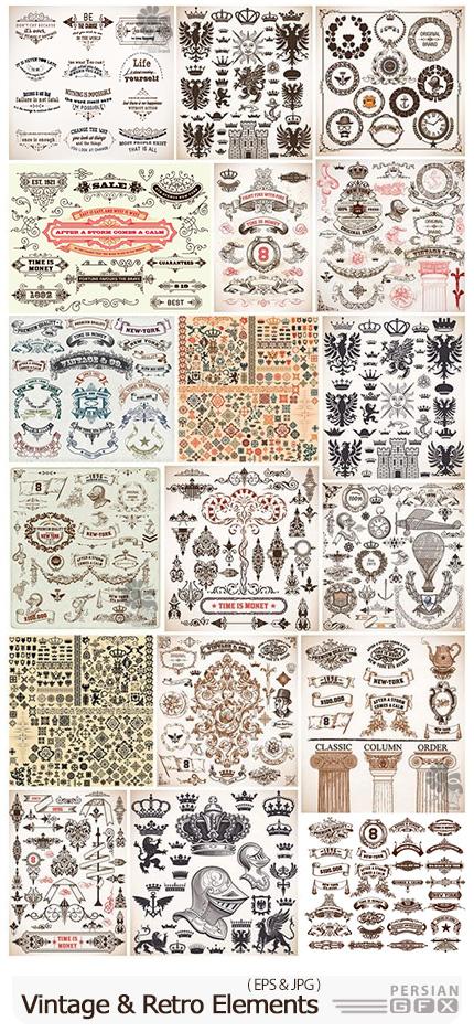 دانلود مجموعه وکتور فریم، پترن، لیبل و کارت های گلدار تزئینی - Vintage And Retro Design Element