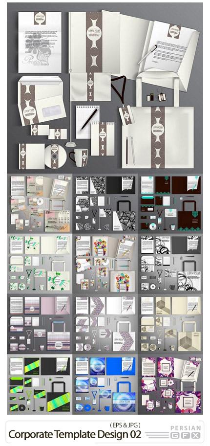 دانلود وکتور ست اداری شامل کارت ویزیت، سربرگ، پاکت نامه و ... - Corporate Template Design 02