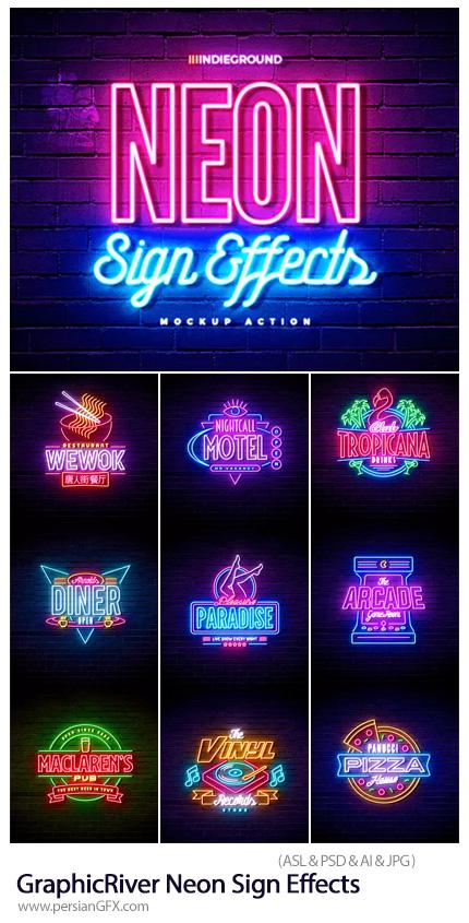 دانلود استایل فتوشاپ با افکت لایه باز نئونی برای متن و اشکال از گرافیک ریور - GraphicRiver Neon Sign Effects