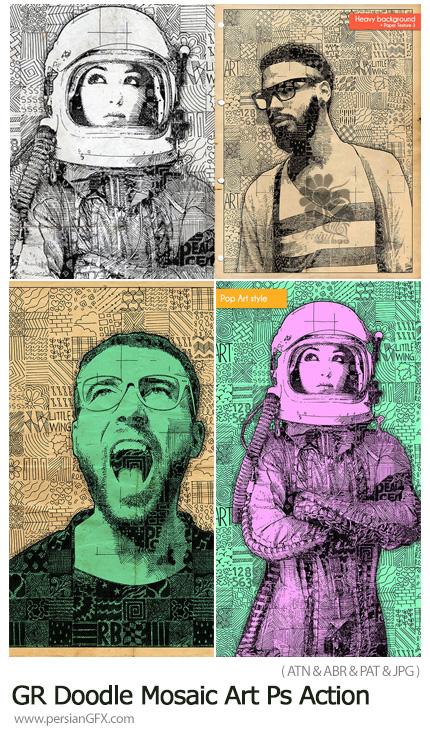 دانلود اکشن فتوشاپ ایجاد افکت طرح های خطی موزاییکی بر روی تصاویر به همراه آموزش ویدئویی از گرافیک ریور - GraphicRiver Doodle Mosaic Art Photoshop Action