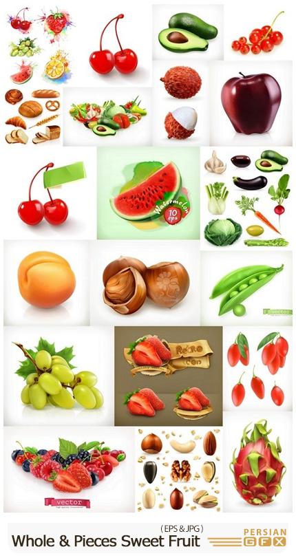 دانلود مجموعه وکتور سه بعدی میوه، سبزیجات، مغزیجات و نان - Whole And Pieces Sweet Fruit 3D Vector Icons Set