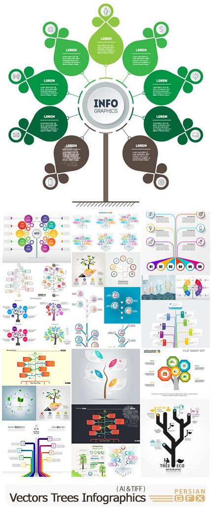 دانلود مجموعه وکتور نمودارهای اینفوگرافیکی درختی متنوع - Vectors Trees Infographics