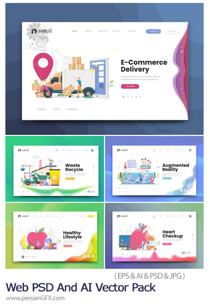 دانلود مجموعه تصاویر لایه باز و وکتور بنر وب با موضوعات مختلف - 02 Web PSD And AI Vector Pack