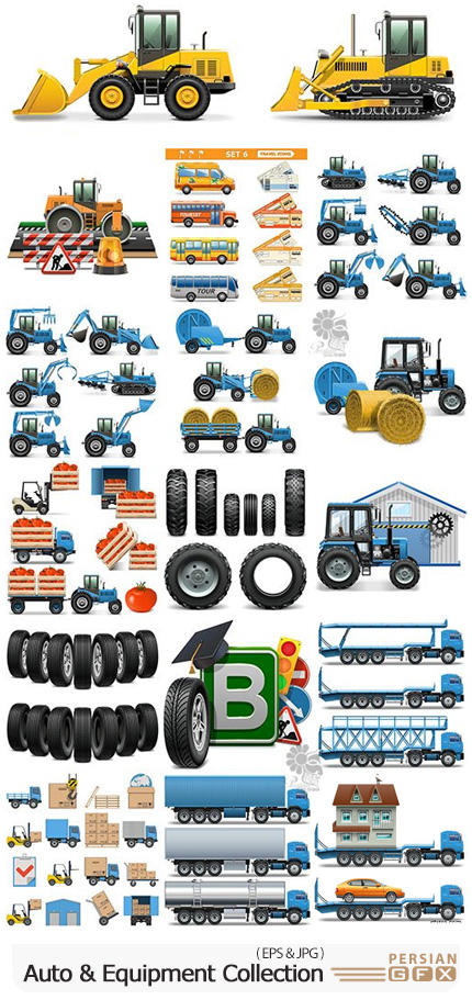 دانلود مجموعه وکتور وسایل نقلیه، تجهیزات و لوازم خودرو - Auto And Equipment Collection