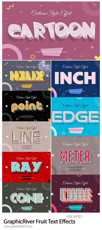 دانلود استایل فتوشاپ با 10 افکت لایه باز کارتونی برای متن از گرافیک ریور - GraphicRiver Cartoon Style Text Effects