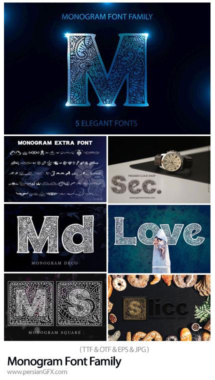 دانلود فونت انگلیسی با طرح های مونوگرام - Monogram Font Family