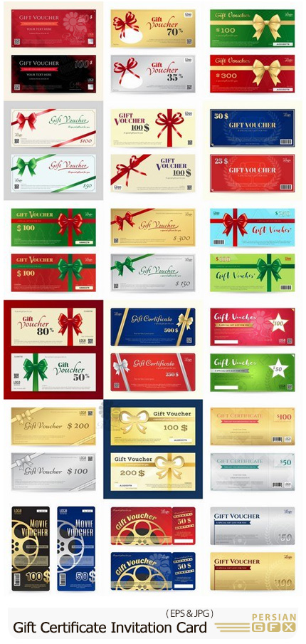 دانلود وکتور کارت هدیه، کارت تخفیف و فلایر تبلیغاتی - Gift Certificate Invitation Card Promotional Flyer Vector Image