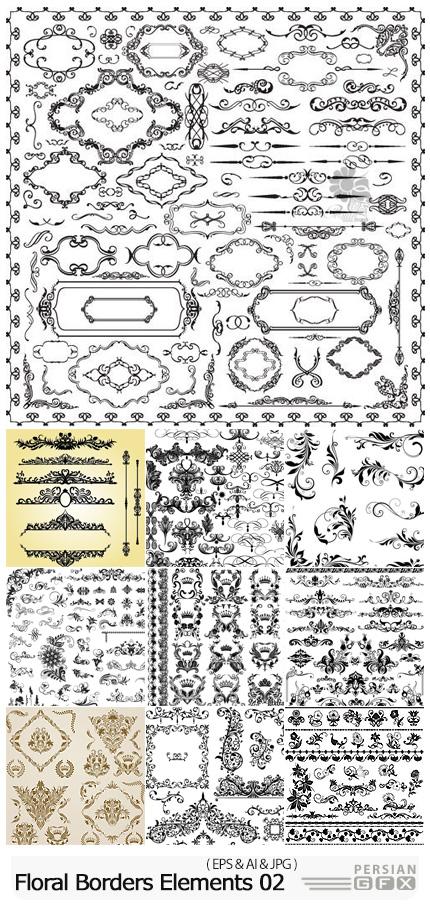 دانلود مجموعه قاب و حاشیه های تزئینی گلدار - Vectors Floral Borders Elements Set 02