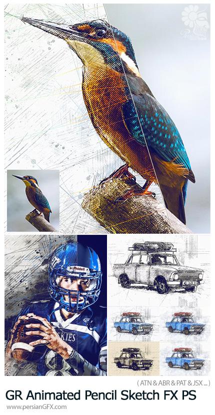 دانلود اکشن فتوشاپ تبدیل تصاویر به نقاشی با مداد متحرک به همراه اسکریپت آماده و آموزش ویدئویی از گرافیک ریور - GraphicRiver Animated Pencil Sketch FX Photoshop Add-On