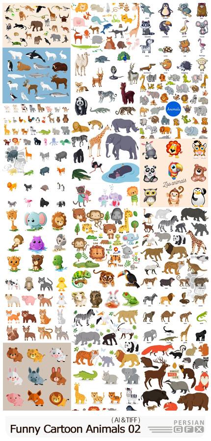 دانلود مجموعه وکتور حیوانات کارتونی بامزه - Vectors Funny Cartoon Animals 02