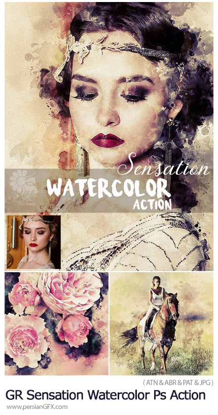 دانلود اکشن فتوشاپ تبدیل تصاویر به نقاشی آبرنگی به همراه آموزش ویدئویی از گرافیک ریور - GraphicRiver Sensation Watercolor Photoshop Action