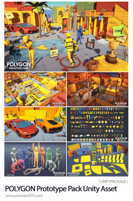 دانلود طرح های پولیگانی سه بعدی برای ساخت بازی و انیمیشن - POLYGON Prototype Pack Unity Asset