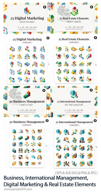 دانلود 105 آیکون سه بعدی شامل مدیریت تجاری، مدیریت، فروشگاه و املاک