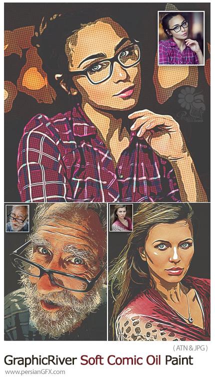 دانلود اکشن فتوشاپ تبدیل تصاویر به نقاشی رنگ روغن کمیک از گرافیک ریور - GraphicRiver Soft Comic Oil Paint