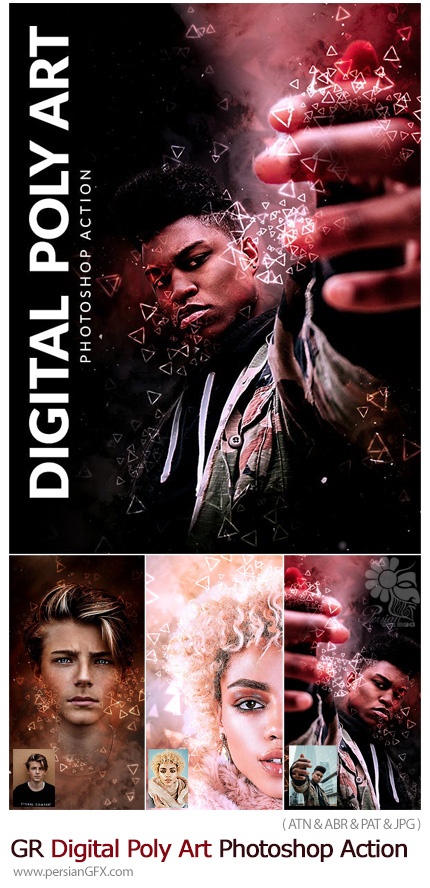 دانلود اکشن فتوشاپ ساخت تصاویر هنری دیجیتالی با افکت اشکال مثلثی از گرافیک ریور - Graphicriver Digital Poly Art Photoshop Action