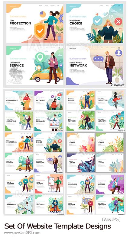 دانلود مجموعه وکتور قالب های آماده وب با طرح های مفهومی - Set Of Website Template Designs Vector Illustration Concepts