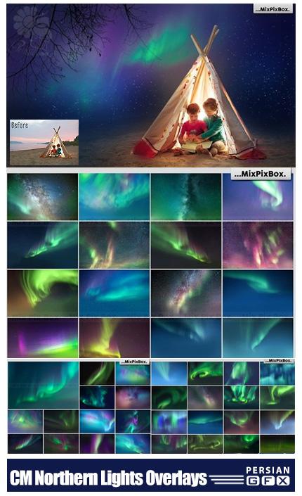دانلود بک گراند با کیفیت عکس آتلیه با موضوع شفق قطبی - CM Northern Lights Photo Overlays