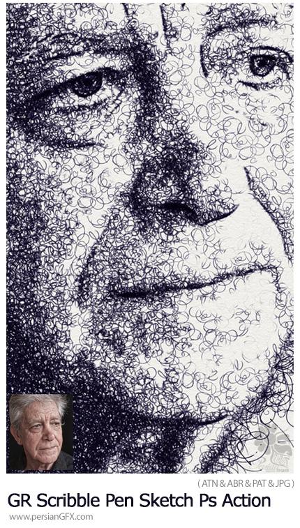 دانلود اکشن فتوشاپ تبدیل تصاویر به طرح خط خطی با خودکار از گرافیک ریور - GraphicRiver Scribble Pen Sketch Photoshop Action V2